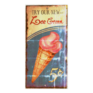 Ice Cream Sign Antique Replica