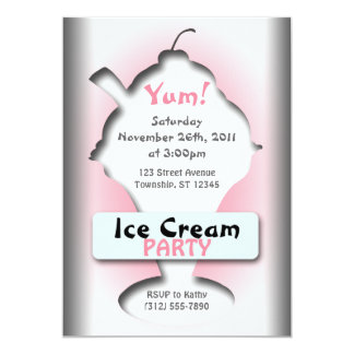 Ice Cream Silhouette Party Invitations