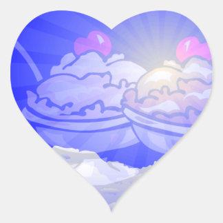 Ice Cream Skyline Heart Sticker