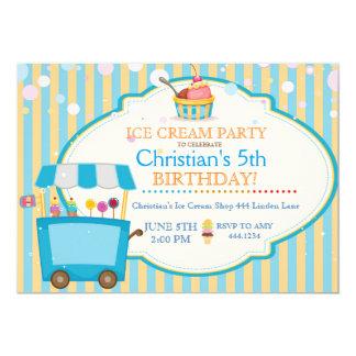 Ice Cream Social Birthday Party Boy Invitations