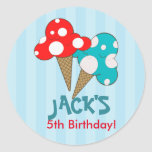 Ice Cream Social Blue Birthday Party Stickers