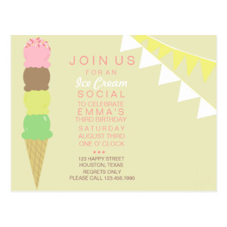 Ice Cream Social Party Invitation Postcard