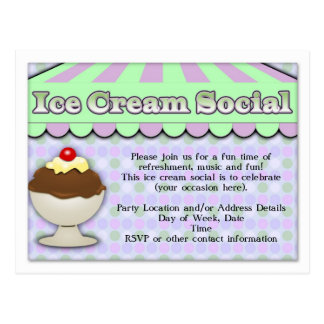 Ice Cream Social, Purple/Green Stripe Sundae Postcard