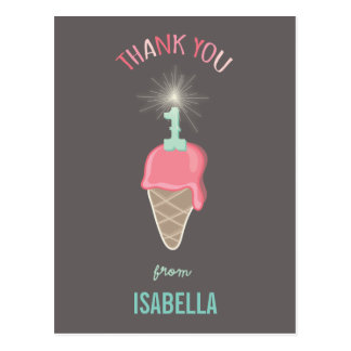 Ice Cream Sparkler 1st Birthday Thank You Postcard