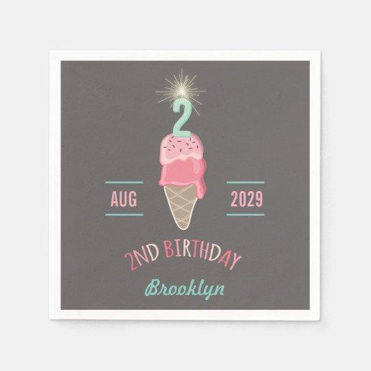 Ice Cream Sparkler 2nd Birthday Party Paper Napkin