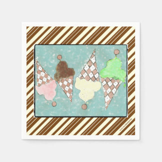Ice Cream Stripes Disposable Serviettes