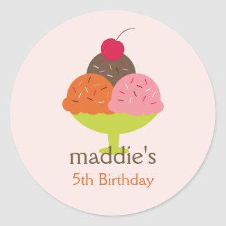 Ice Cream Sundae Birthday Favor Stickers (Pink)