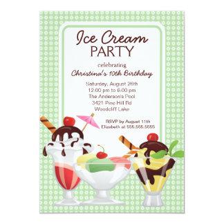 Ice Cream Sundae Birthday Party 13 Cm X 18 Cm Invitation Card