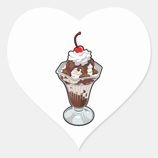 Ice Cream Sundae Heart Sticker