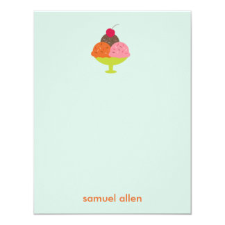 Ice Cream Sundae Thank You Cards (Blue) Invites