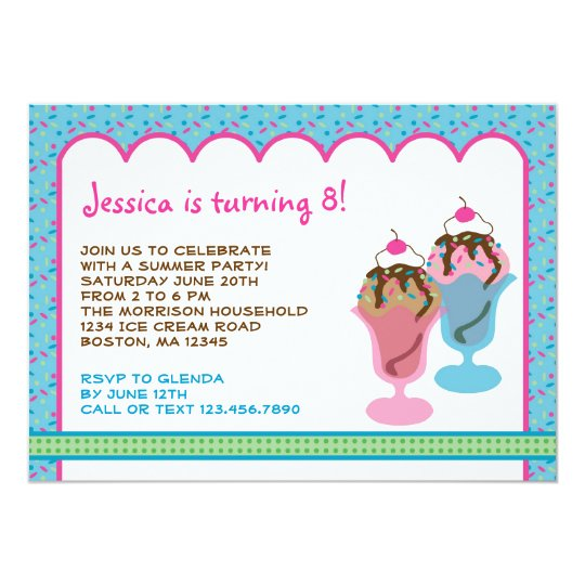Ice Cream Sunday Birthday Party Invitation