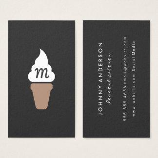Ice Cream Swirl Icon gray with Monogram Business Card