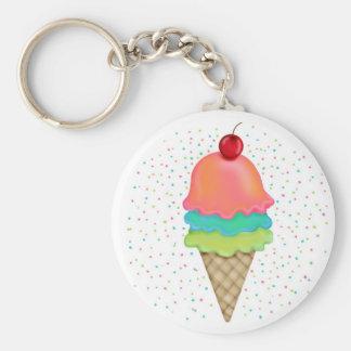 Ice Cream Treats Basic Round Button Key Ring