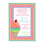 Ice Cream Treats Birthday Invitations