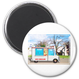 Ice Cream Truck in the Street 6 Cm Round Magnet