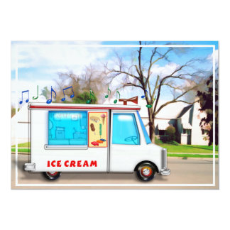 Ice Cream Truck in the Street 5x7 Paper Invitation Card