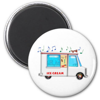Ice Cream Truck with Music 6 Cm Round Magnet
