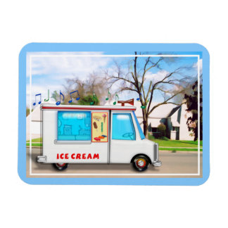 Ice Cream Truck with Music in the Street Rectangular Photo Magnet