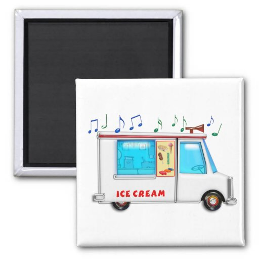 Ice Cream Truck with Music Refrigerator Magnet