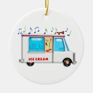 Ice Cream Truck with Music Round Ceramic Decoration