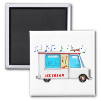 Ice Cream Truck with Music Square Magnet