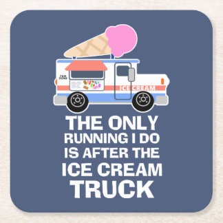 Ice Cream Truck Workout Square Paper Coaster