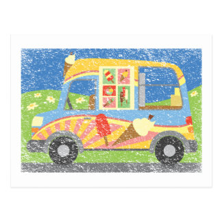 Ice Cream Van Worn Look Postcard