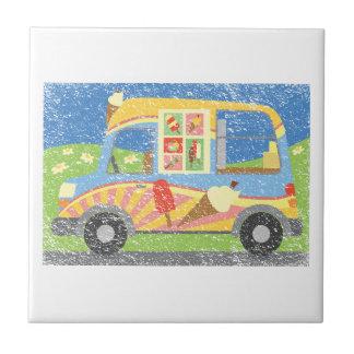 Ice Cream Van Worn Look Small Square Tile