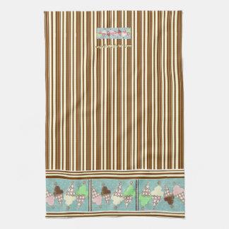 Ice Cream Vertical Stripe Tea Towel