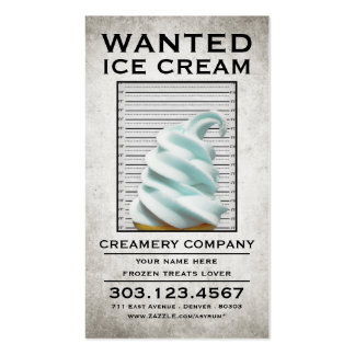 ice cream wanted poster Double-Sided standard business cards (Pack of 100)