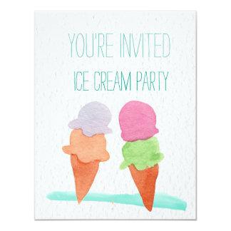 Ice Cream Watercolor Party Invitation
