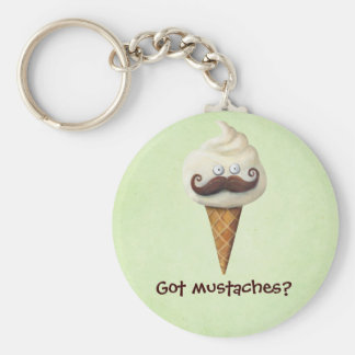 Ice Cream with Mustaches Key Ring