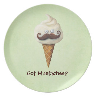 Ice Cream with Mustaches Plate