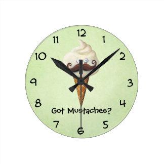Ice Cream with Mustaches Round Clock