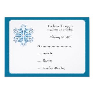 Ice Crystal Snowflake Winter Wedding Reply Cards 9 Cm X 13 Cm Invitation Card