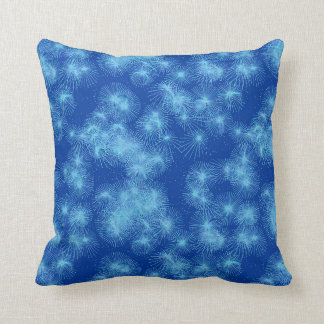 Ice crystal starbursts, blue background cushion