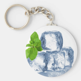 Ice cube cool yourself basic round button key ring