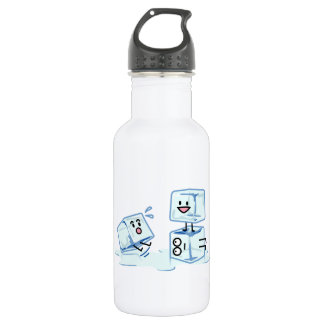 ice cubes icy cube water slipping stack melt cold 532 ml water bottle