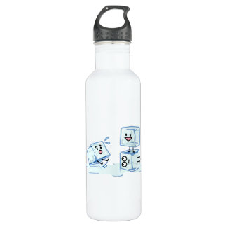 ice cubes icy cube water slipping stack melt cold 710 ml water bottle