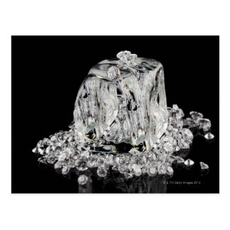 Ice cubes melting into diamonds postcard