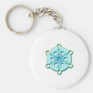 Ice Drop Winter Christmas Snowflake Basic Round Button Key Ring