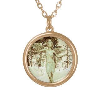 Ice Fairy Round Pendant Necklace