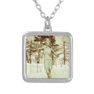 Ice Fairy Square Pendant Necklace