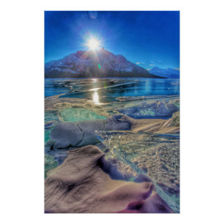 Ice Fields on Abraham Lake Poster