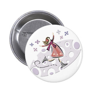 Ice Figure Skater 6 Cm Round Badge