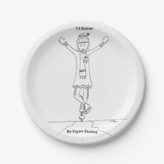 Ice Figure Skater Party Paper Plates ORIGINAL ART