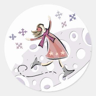 Ice Figure Skater Round Stickers