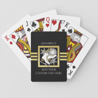 Ice | Figure Skating Black Faux Gold Modern Custom Playing Cards