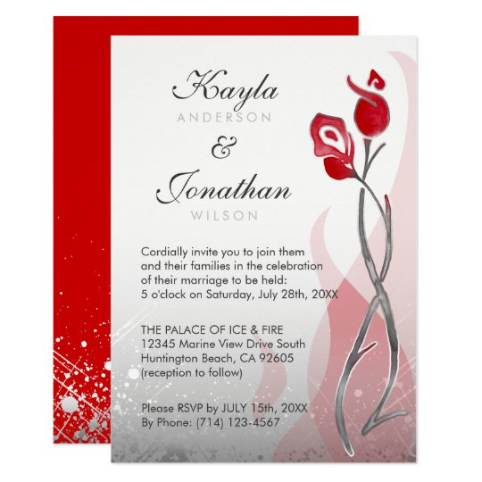 Ice & Fire Wedding Invitations | Red Silver