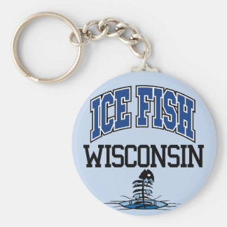 Ice Fish Wisconsin Basic Round Button Key Ring